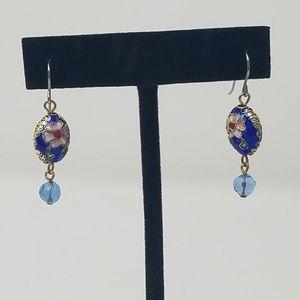 """Vtg 1.25"""" Cloisonne floral dangle earrings"""